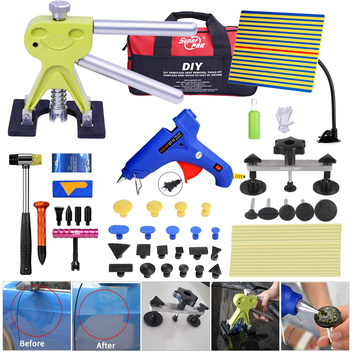 Fly5D 44pcs Auto Car Body Paintless Dent Repair Removal Tools Kit Dent Lifter Pop Out a Dent Bridge Puller Set for Car Dent Hail Damage Door Dings Repair