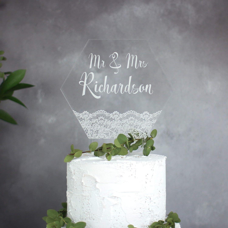Personalised Lace Wedding Cake Topper Wedding Styling Hexagon Cake Topper Vintage Style Wedding Mr /& Mrs Wedding Decoration