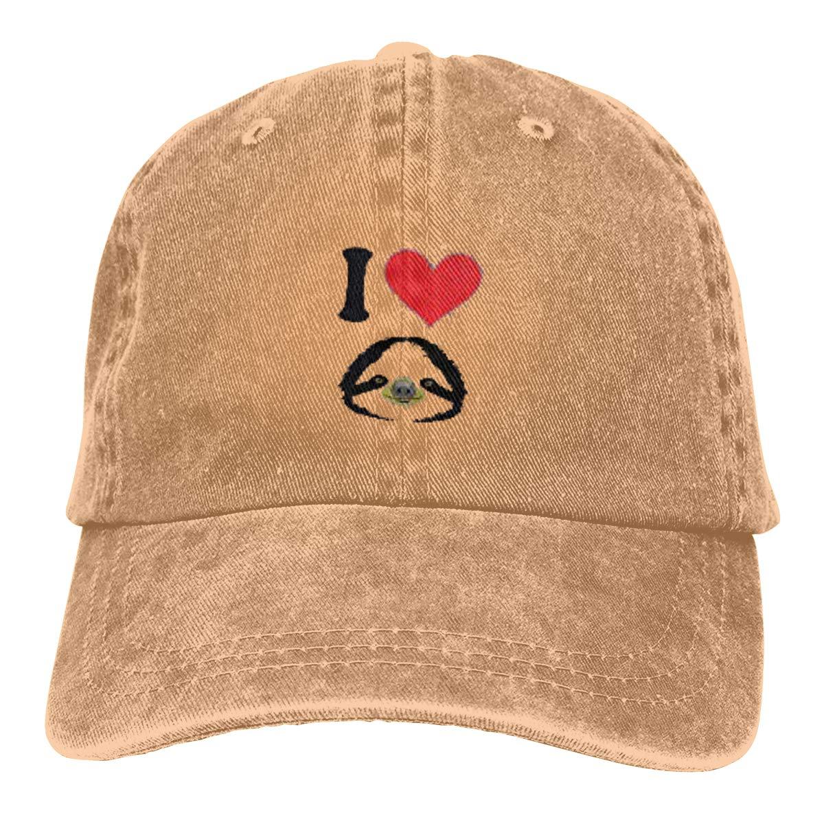 I Love Sloth Unisex Baseball Cap Cotton Denim Funny Adjustable Sun Hat for Men Women Youth