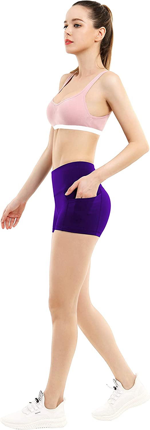 BUBBLELIME 2.5//4 Stretch Yoga Shorts for Women with Inner//Out Pockets Tummy Control Moisture Wicking Workout Running Shorts