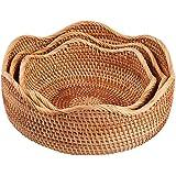 amololo Handmade Rattan Round Fruit Basket Food Storage Bowls Kitchen Organizer Snack Serving Bowl (3-Size Kit)