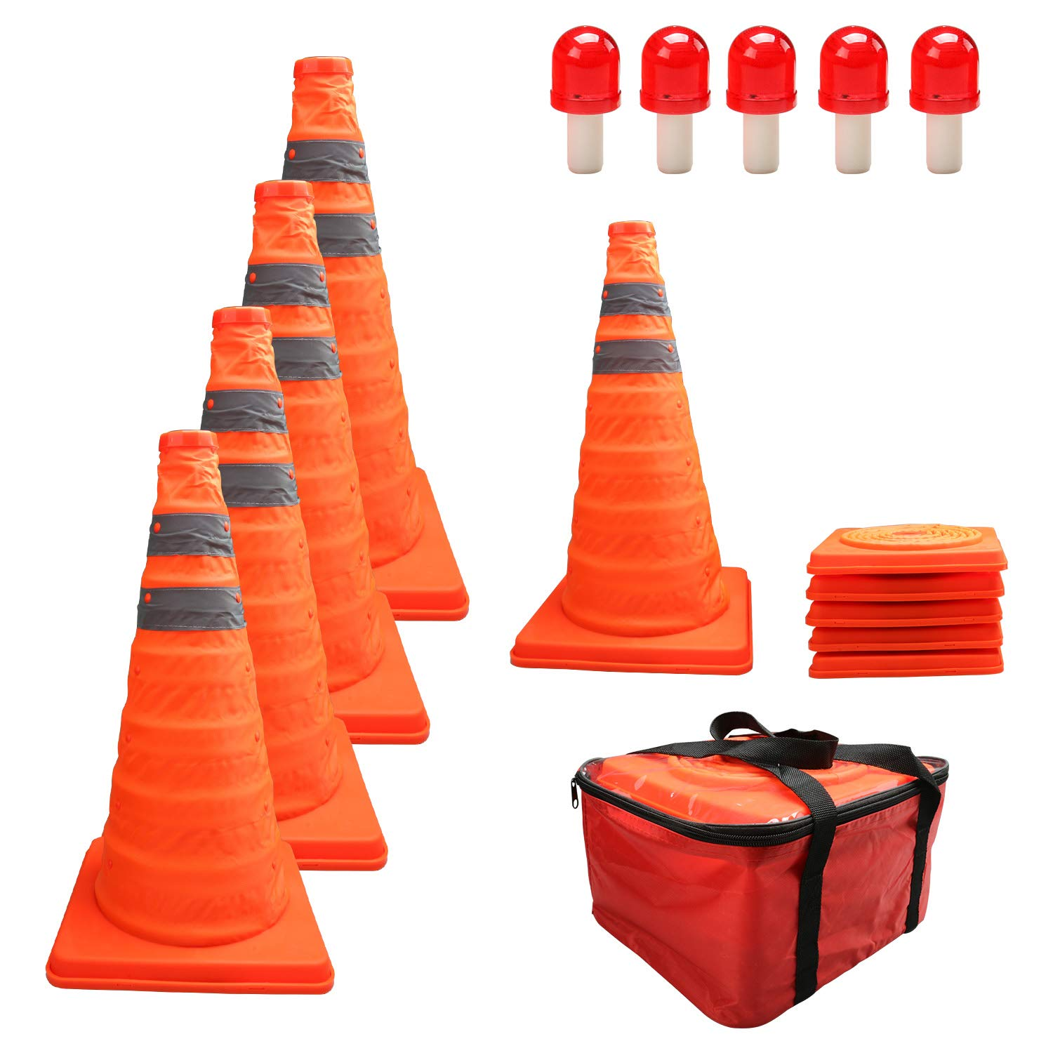 HYDDNice 5 Pack 18'' Collapsible Traffic Cones with LED Lights Reflective Safety Cones 2 Reflective Silver Strips