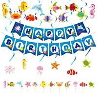 Ocean Sea Animal Happy Birthday Banner with Honeycomb ornament,Spiral Ornaments,Cupcake Toppers for Kids Birthday Party Baby Shower Decoration