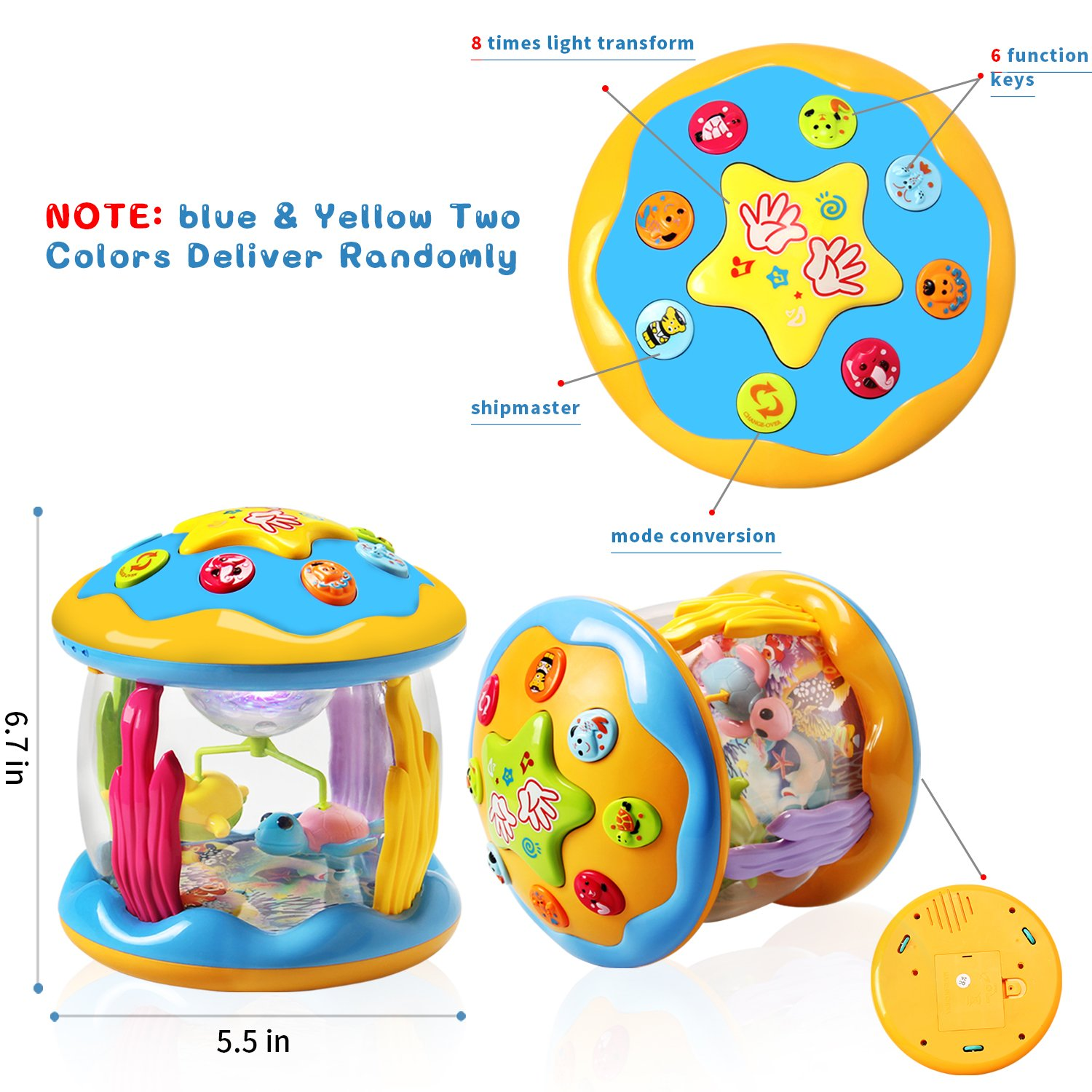 HOMOFY Baby Toys Ocean Park Rotating Projector,Various Pacify Music & Light,Super Fun,Early Educational Toys for 1 2 3 Year Girls and Boys Kids or Toddlers(BEST GIFTS) by HOMOFY (Image #6)