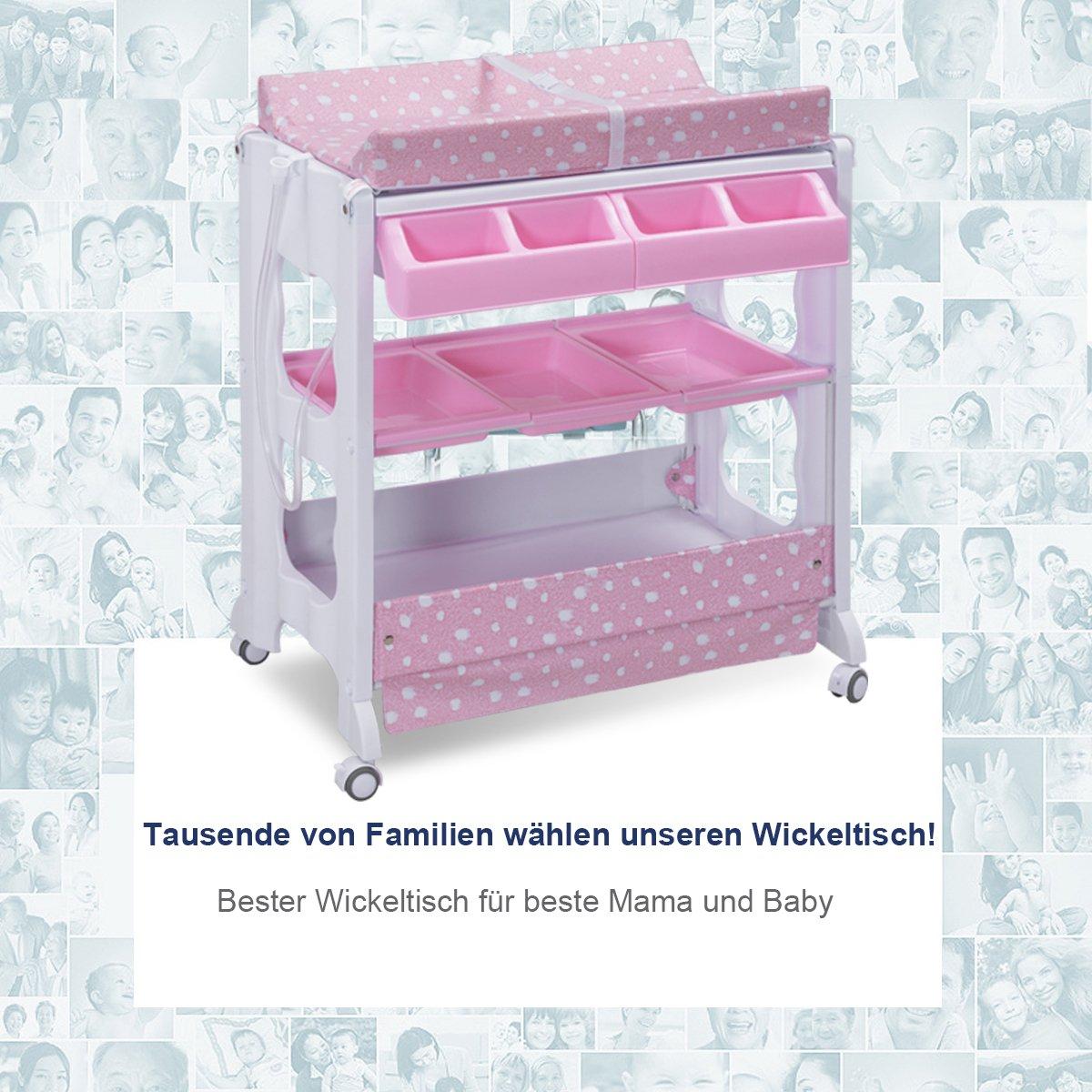 COSTWAY 2 in 1 Mobiler Wickeltisch Badewanne rosa Wickelkombination Wickelauflage Kommode  Wickelregal Wickelkommode Baby Bade