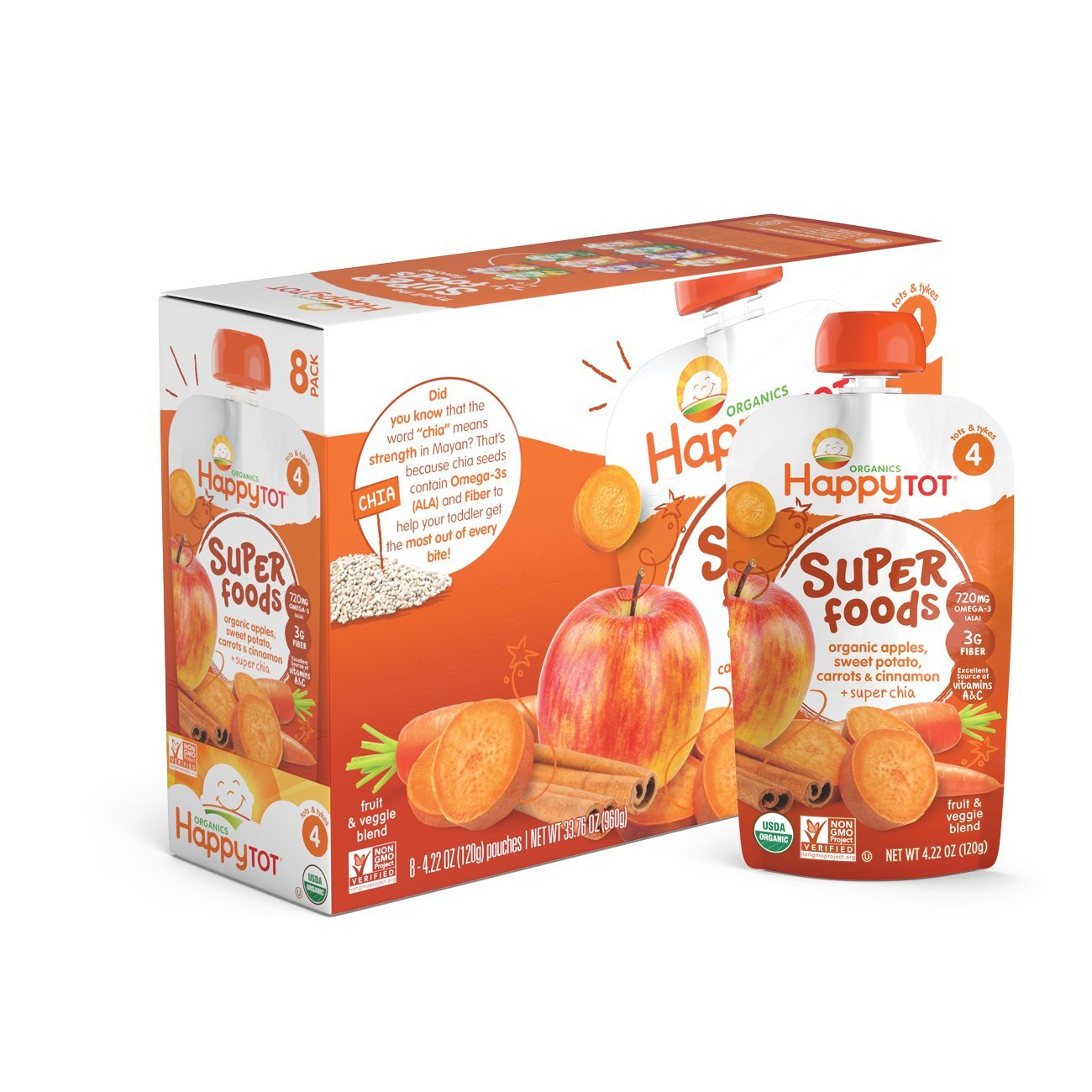 Happy Tot Organic Stage 4 Super Foods Apples Sweet Potatoes Carrots & Cinnamon + Super Chia 4.22 Ounce (Pack of 16), Non-GMO, Gluten Free, 3g of Fiber, Excellent source of vitamins A & C