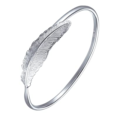 MESE London Feather Bangle - Silver Cuff Adjustable Bracelet zWgH3dp
