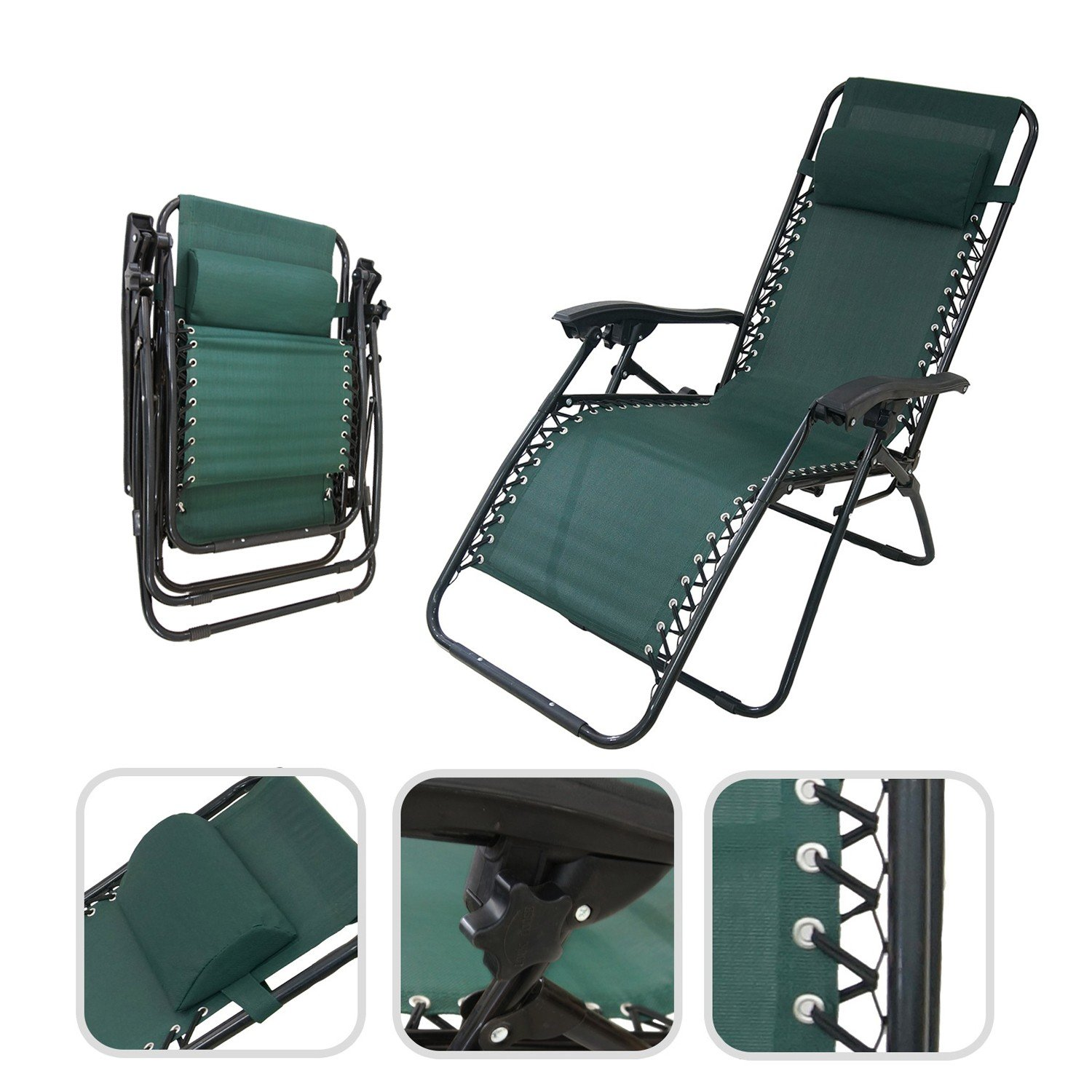 set of 2 reclining garden deck chairs textilene fabric and. Black Bedroom Furniture Sets. Home Design Ideas