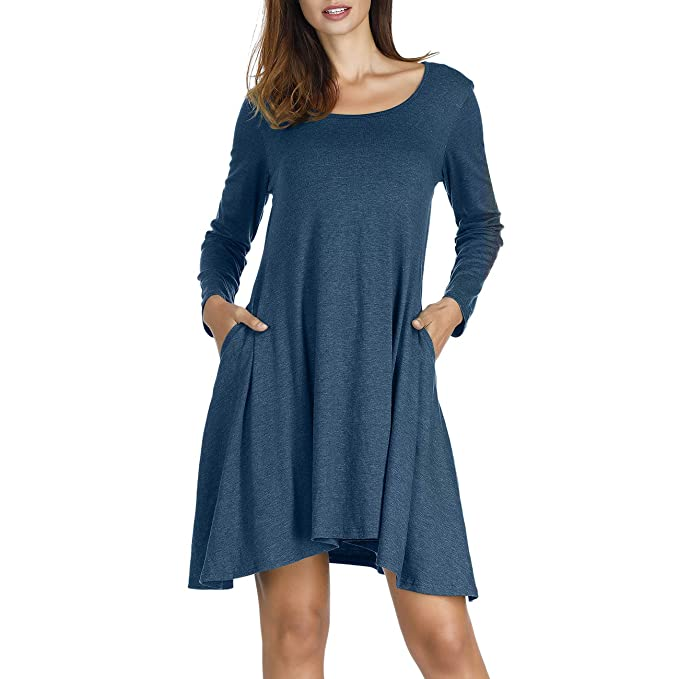 Naokenu Women Long Sleeve Pleated Casual Tunic Dress Knee Length T-Shirt Dress with Pockets(S,Blue 12) best long-sleeve dress