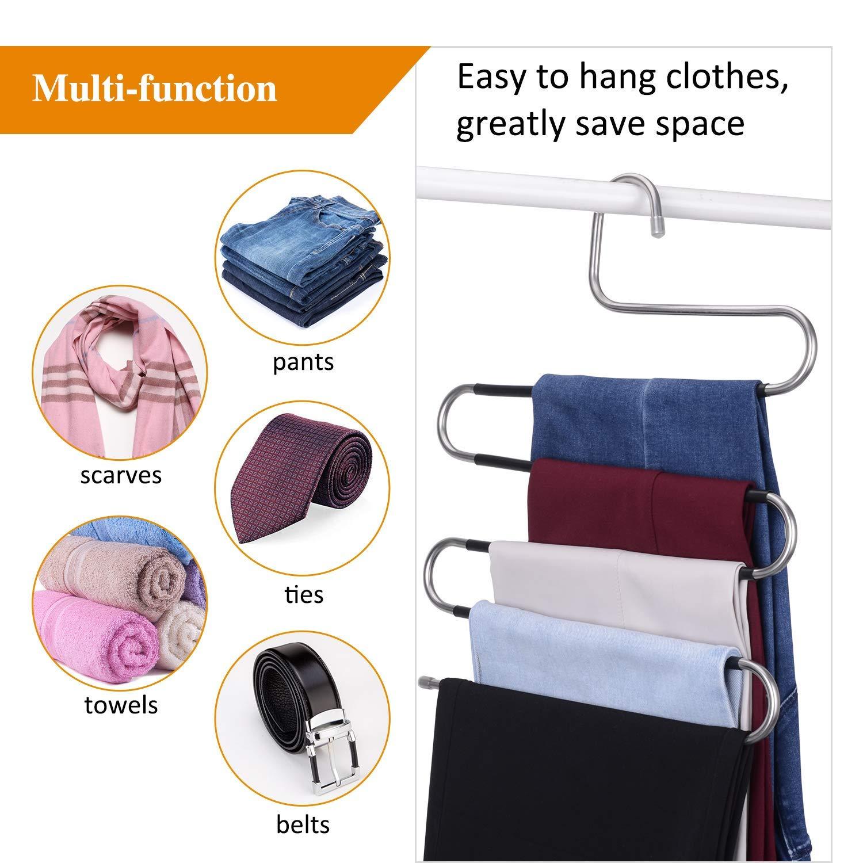 pour /économiser de lespace IEOKE Lot de 4 cintres pour Pantalons 5 Couches Serviettes en Acier Inoxydable /écharpes antid/érapants de Type S Cravates Rangement pour Jeans