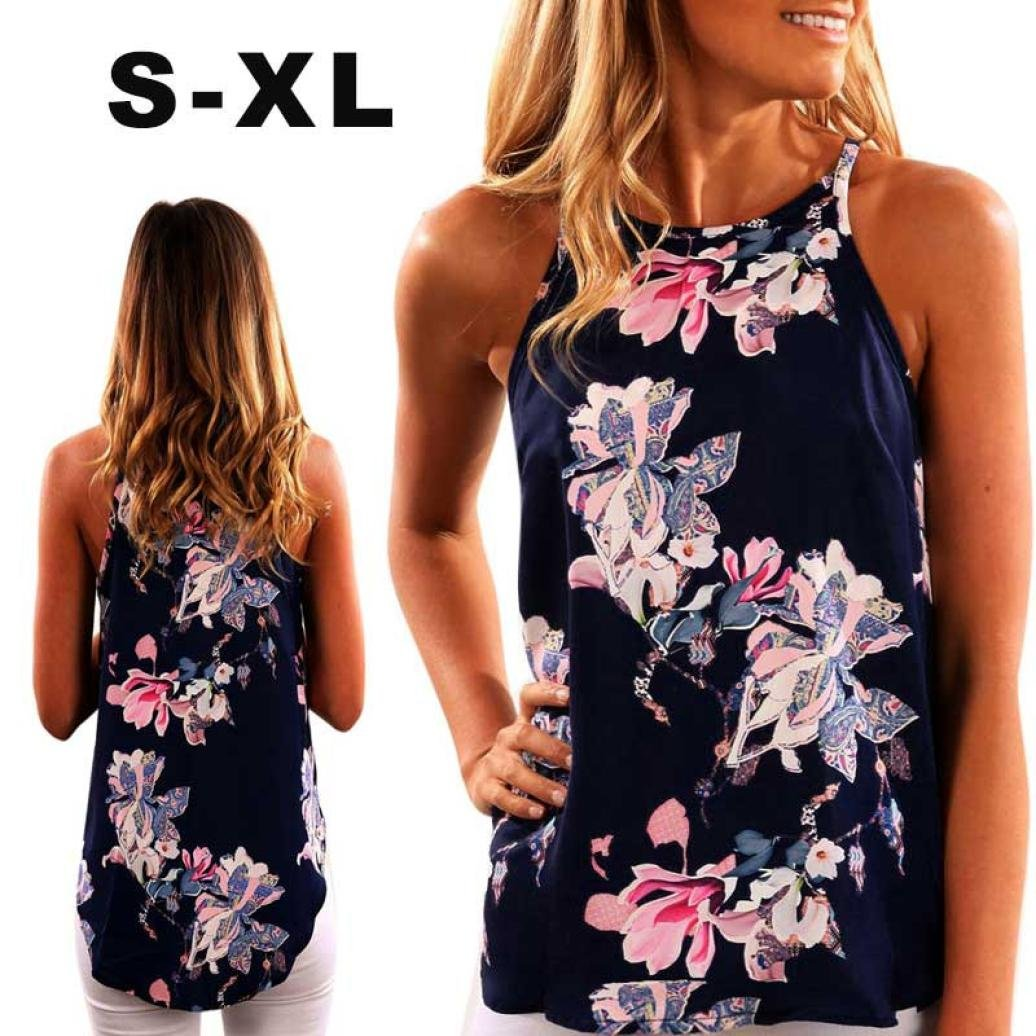 ad475caa8c2da Amazon.com  Lmtime Sleeveless Blouse Women Flower Printed Tank Top Casual  Vest Floral T Shirt  Clothing