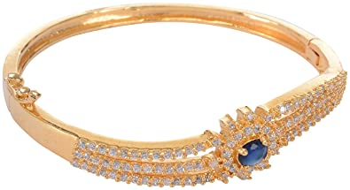 b11d6b81d01 Image Unavailable. Image not available for. Colour: 1 gram Gold Plated blue  bangle kada Bracelet for Women