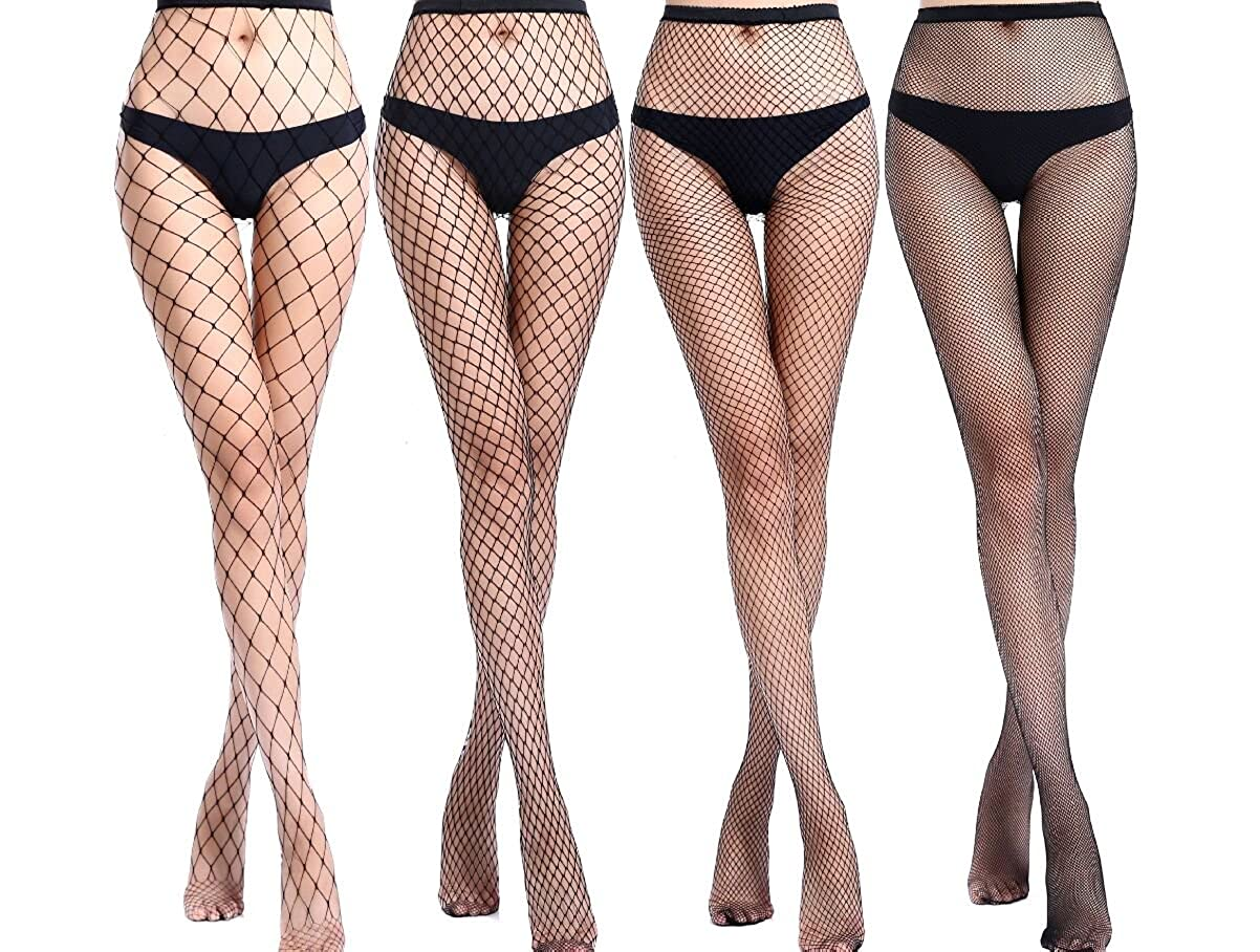 72798c388037c 4 Pairs Fishnet Stockings Woman Black Fishnet Stocking Fishnet Tights  Pantyhose at Amazon Women's Clothing store: