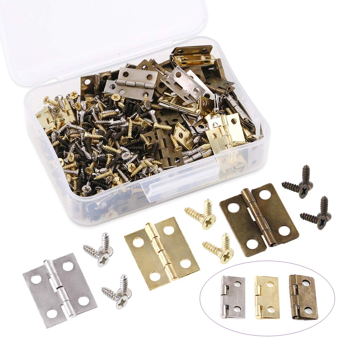 Swpeet 90Pcs 3 Colors Antique Door Mini Hinges with 360Pcs Replacement Hinge Screw, Metal Hasp Cabinet Latch Hasp with Screws for Wooden Jewelry Box Cabinet Decorative - Gold, Bronze, Black