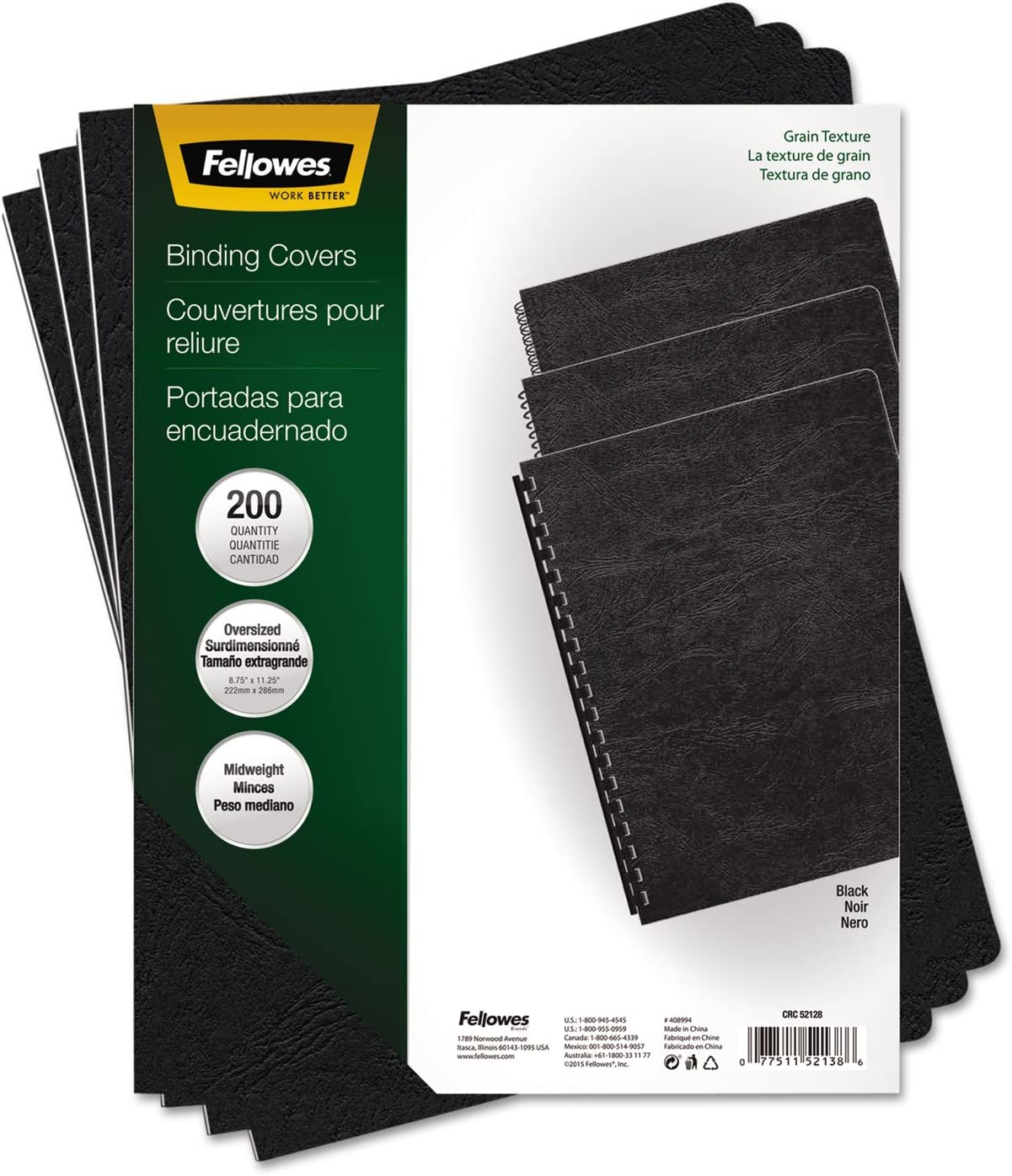 FEL52138 Fellowes Classic Grain Texture Binding System Covers