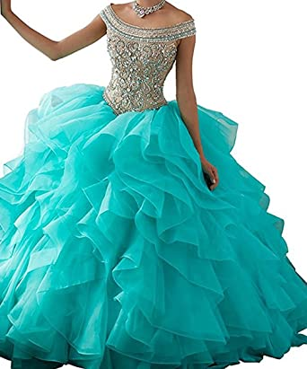 Amazon.com: BessDress Off The Shoulder Formal Ball Gown Lace ...