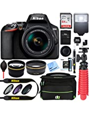 Nikon D3500 24.2MP DSLR Camera + AF-P DX 18-55mm VR NIKKOR Lens Kit + Accessory Bundle 64GB SDXC Memory + SLR Photo Bag + Wide Angle Lens + 2.2X Telephoto Lens + Flash+Tripod +Filters (Black)