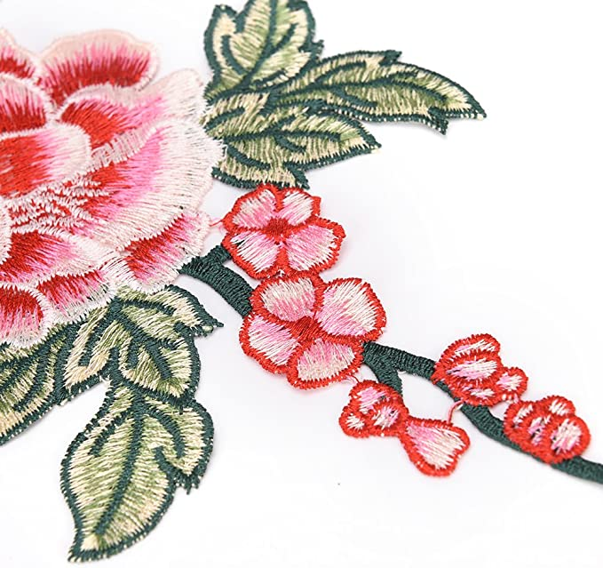 TUANTUAN 1 Pcs Embroidered Flower Pattern Sew On Iron On Patches for Clothing DIY Motif Applique