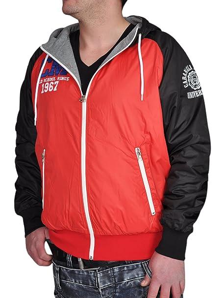 Milano Cabaneli chaqueta para hombre chaqueta reversible con capucha College Style CM-67 rojo/negro: Amazon.es: Ropa y accesorios