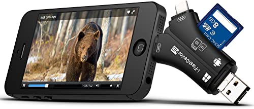 MOSPRO Trail Camera Viewer for iPhone iPad Mac Android, SD Micro SD Memory Card Reader to View Photos and Videos from any Wildlife Scouting Game Cam on Smartphone for Deer Hunter Black