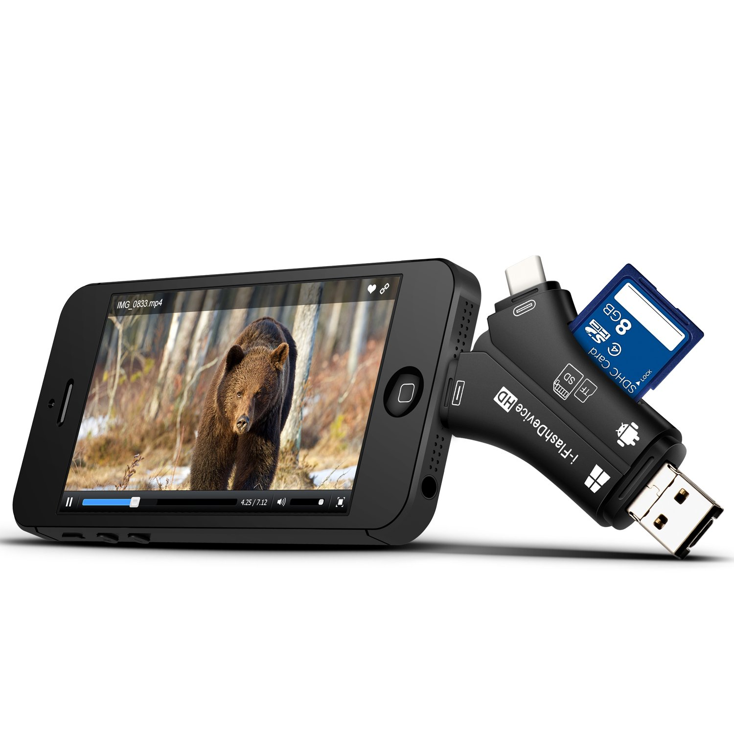 MOSPRO trail iPhone apple Mac & Android camera viewer, SD and micro SD memory card reader to view the photos and video from any wild animal surveillance CAM game deer hunter black smart phones
