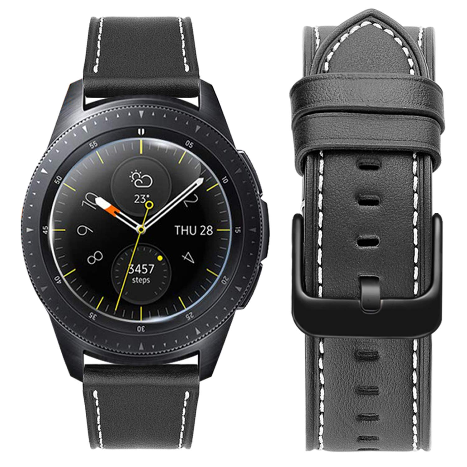 Gear S2 Classic Watch Straps,MroTech Premium Leather Bands with Black Buckle Gear S2 Classic Bands Replacement Watch Strap for Samsung Galaxy Watch ...
