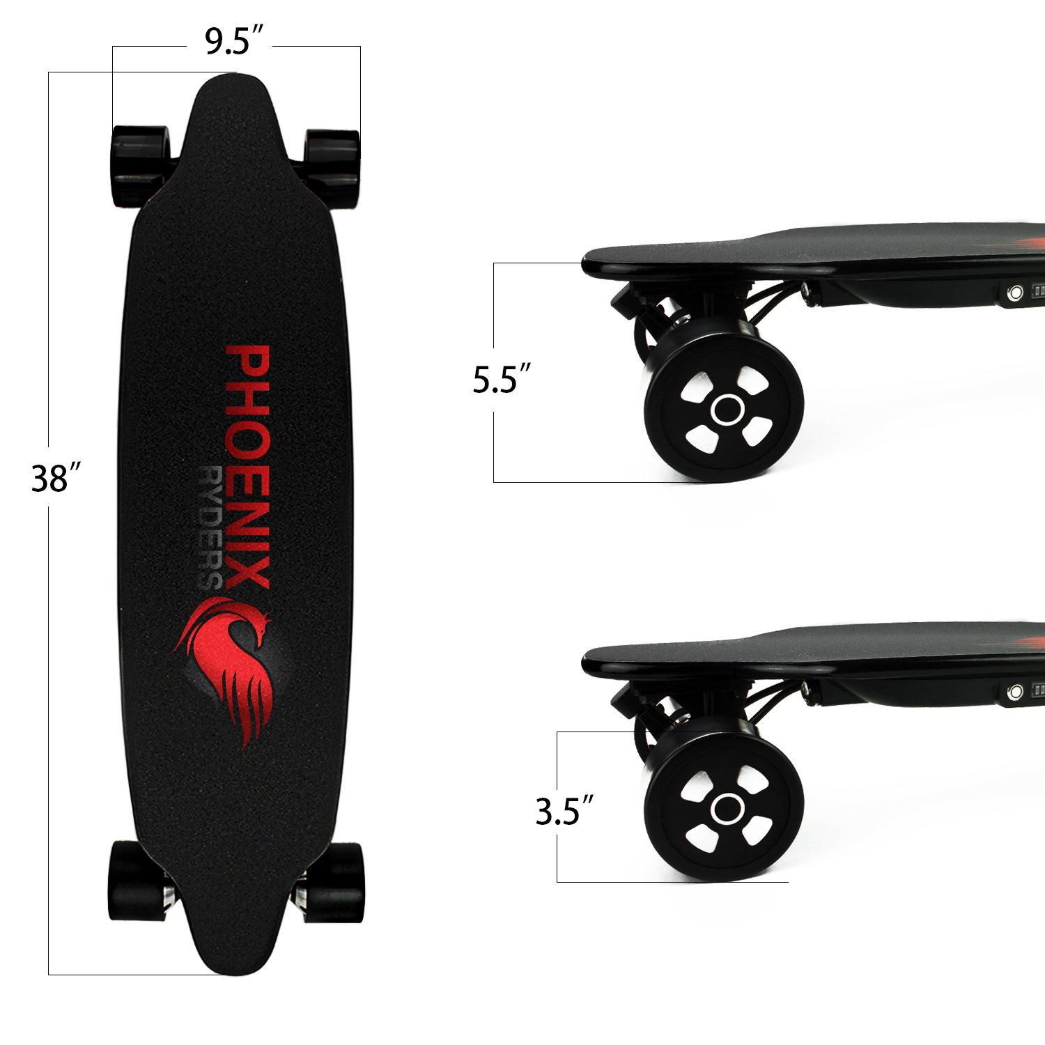 PHOENIX RYDERS Electric Skateboard Top Speed 25 MPH, Max Range 18.6 Miles, Dual Motors Electric Longboard with Remote Controller