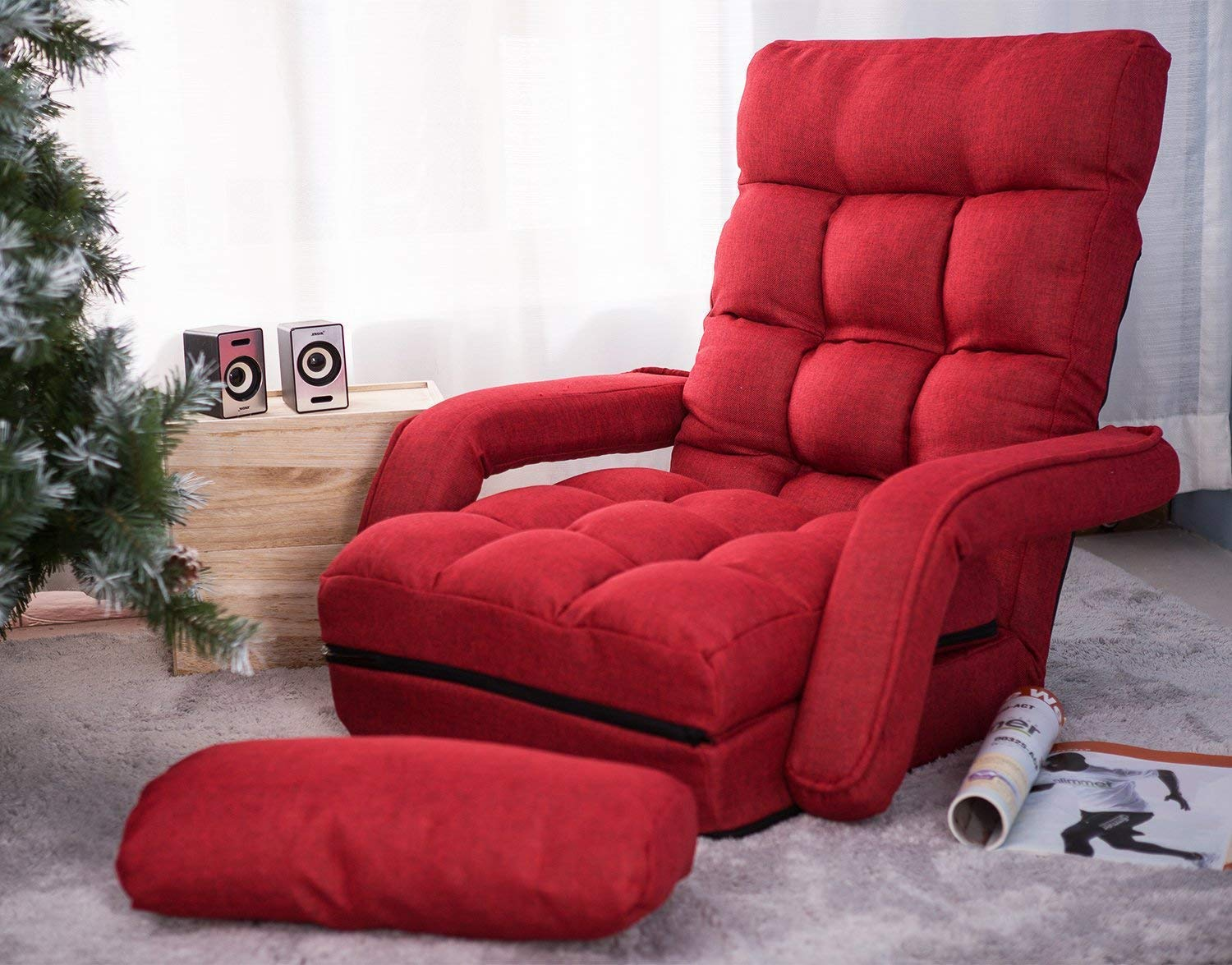 Merax Folding Lazy Floor Chair Sofa Lounger Bed Chaise Couch with Armrests and Pillow, Red