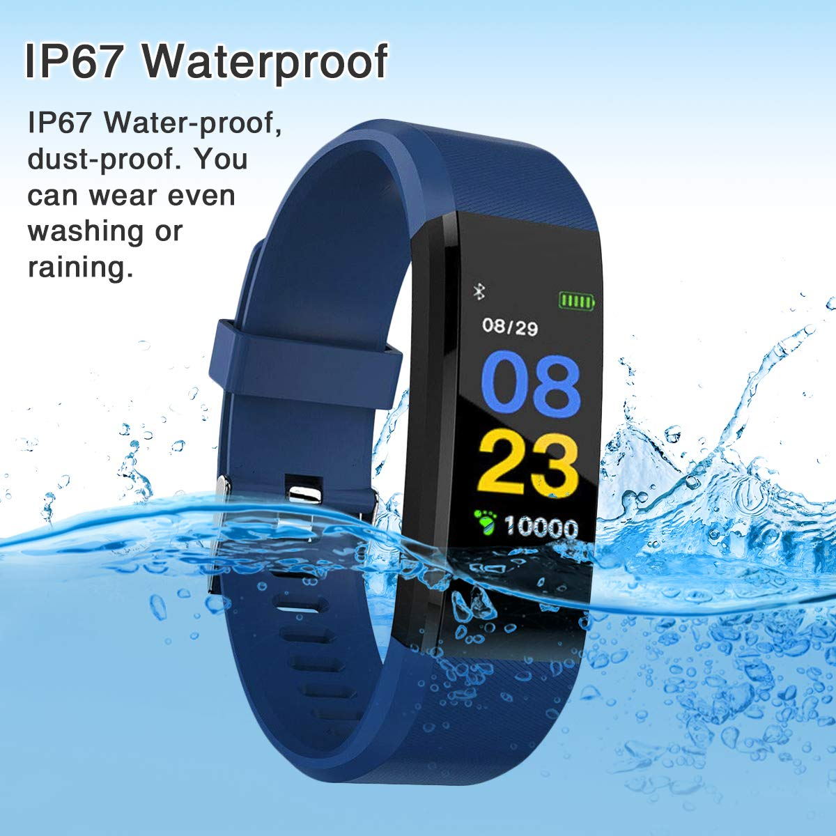 Burn-Rate Fitness Tracker Heart Rate Monitor - Smart Watches for Women & Men, Kids Color Smart Watch Fit Bracelet. Reloj Inteligente band Pedometer, Waterproof, Distance Activity bit for Android & iOS by Burn-Rate Fitness 115plus (Image #3)
