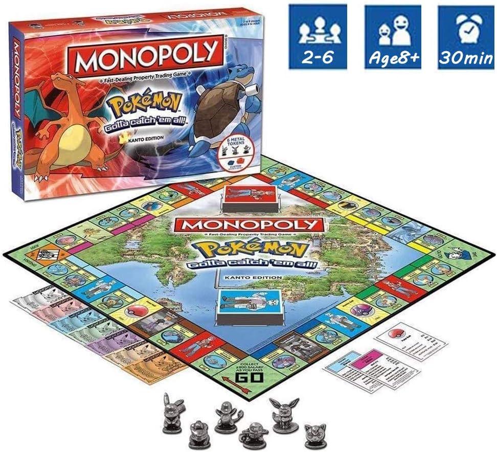 DFGHJKNN Monopoly Pokemon - Card Game - Board Games - Family Multiplayer Party Game - Versión En Inglés: Amazon.es: Hogar