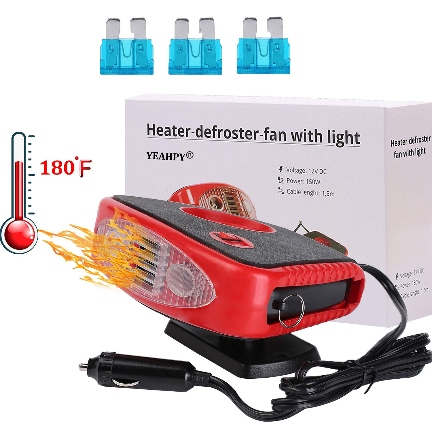 Windshield Car Heater - Portable Car Defroster Defogger 12V Truck Car Heat Cooling Fan 150W 3-Outlet Plug in Cigarette Lighter
