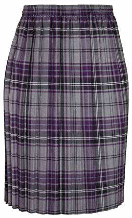 1f17d9ca47 Womens Tartan Check Printed Ladies Stretch Box Pleated Elasticated  Waistband Long Skirt Plus Size Grey Size