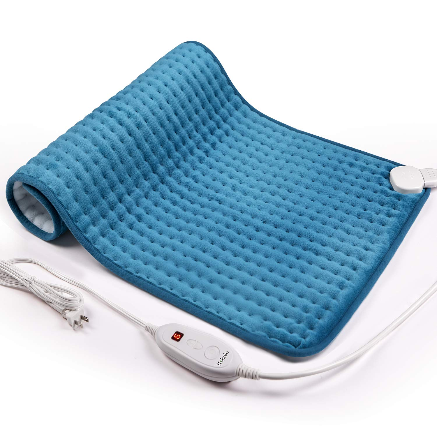 iTeknic Heating Pad for Back Pain and Cramps Relief -Extra Large [17''x33''], Auto Shut Off - Electric Fast Heat Pad with 6 Heat Settings Moist & Dry Heat Therapy Options - Hot Heated Pad by iTeknic