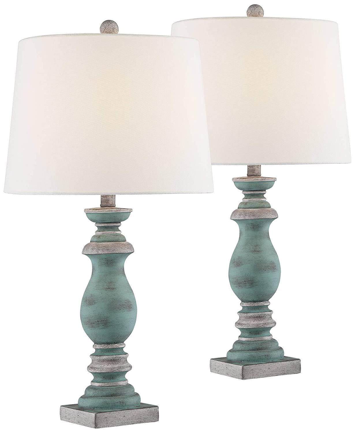 Patsy Country Cottage Table Lamps Set of 2 Blue Gray Washed Tapered Fabric Drum Shade for Living Room Bedroom Bedside Nightstand Office Family - Regency Hill
