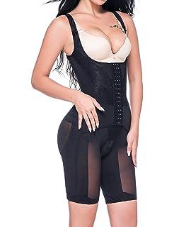 08167b993381f Vaslanda Women Open Bust Full Body Shaper Mid Thigh Bodysuit Tummy Control  Underbust Shapewear