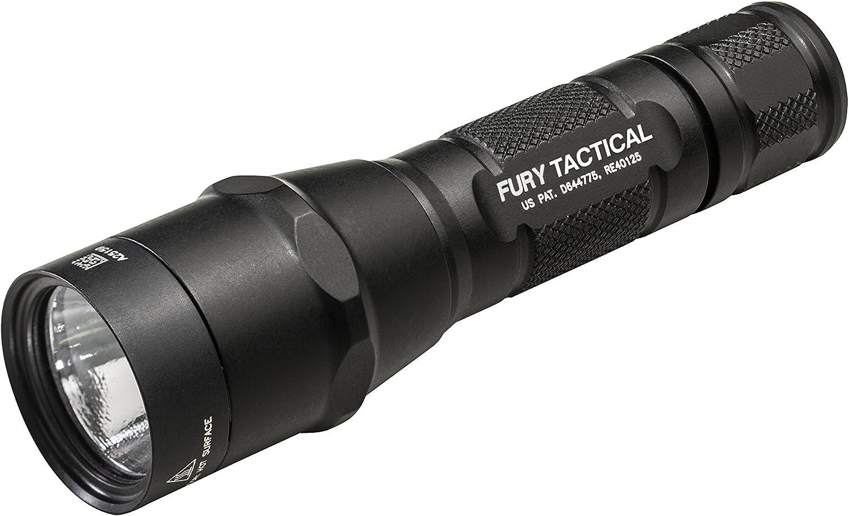 Đèn pin LED đơn đầu ra chiến thuật SureFire P2X Fury với thân nhôm anodizded, màu đen