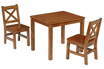 EHemco Kids Table And 2 X Back Chairs Set Solid Hard Wood (Dark Oak)
