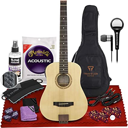 Amazon Com Traveler Ag 105e Hollowbody Acoustic Electric Guitar Spruce Top Mmx 102 In Ear Headphones Guitar Strings Guitar Picks Strap Attachment Cables Universal Guitar Care Kit Musical Instruments