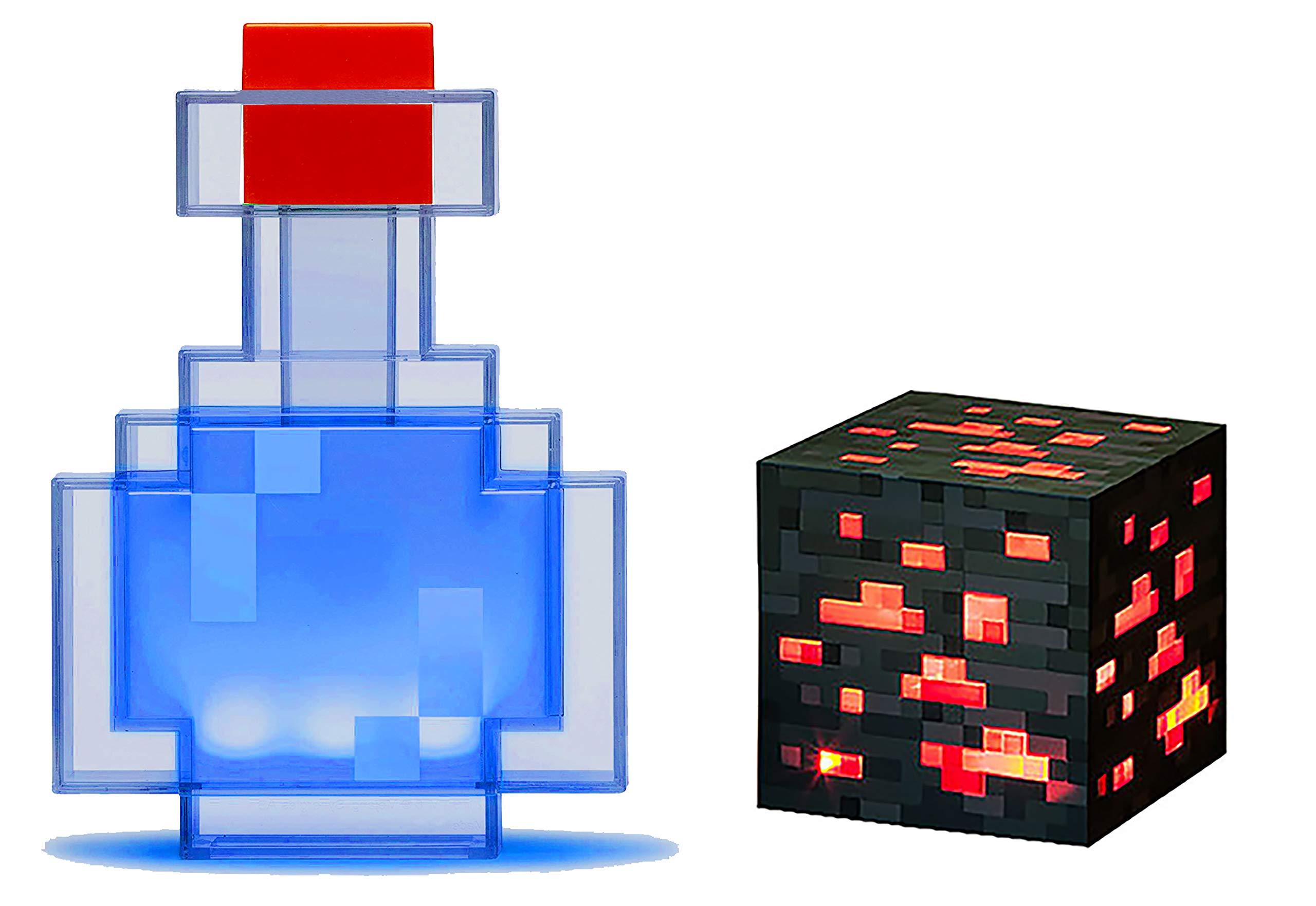 TG ThinkGeek Minecraft Color Changing Potion Bottle - Lights Up and Switches Between 8 Different Colors and Redstone Ore - Officially Licensed Minecraft Toys