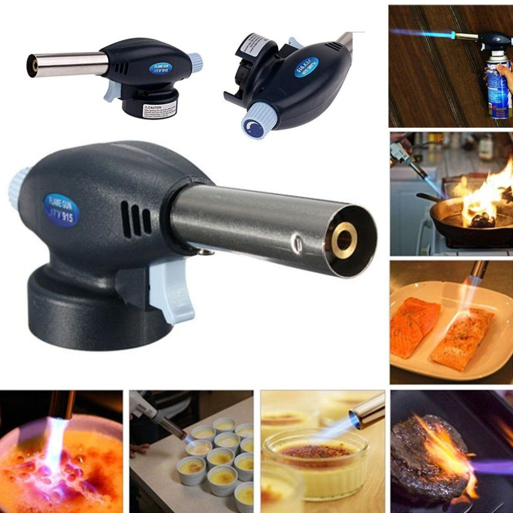 Ikevan Camping Hand Tools, Blow Torch Butane Gas Flamethrower Burner Welding Auto Ignition Soldering BBQ