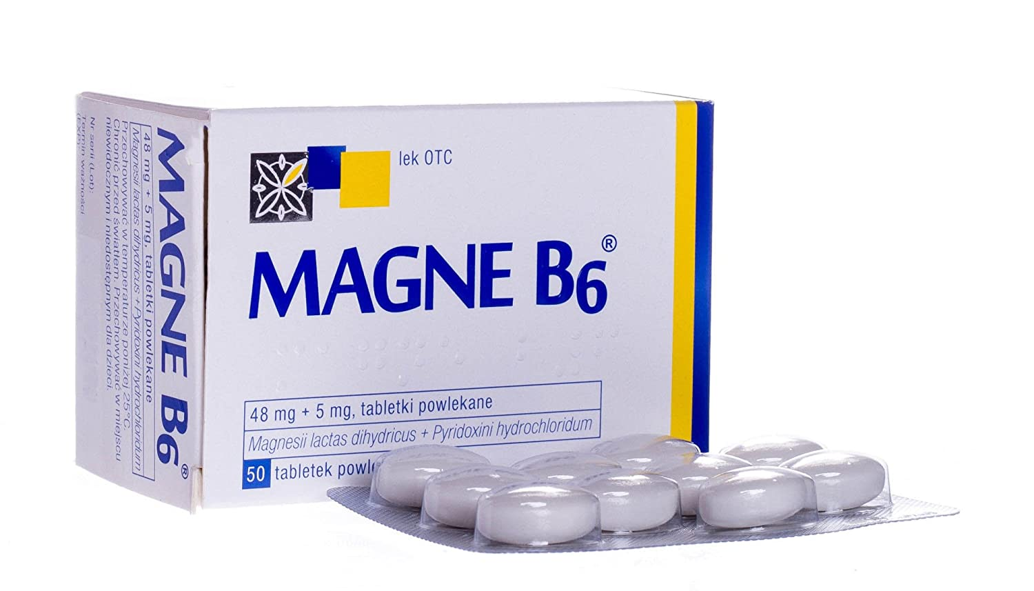 Amazon.com: 2 x MAGNE B6-50 tablets - Magnesium 48mg + Vit B6 5mg - TOTAL 100 Tabs: Health & Personal Care