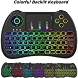 Meerveil H9 2.4GHz Colorful Backlit Mini Wireless Keyboard with Mouse Touchpad Rechargeable Combos for Android TV Box, Kodi,HTPC, IPTV, PC, PS3 ,Xbox 360, Raspberry Pi 3,NVIDIA SHIELD TV
