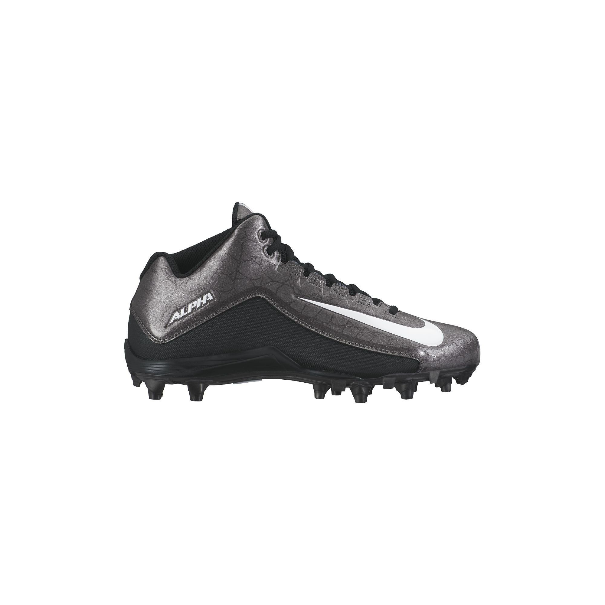 NIKE Men's Alpha Strike 2 Three-Quarter Football Cleat Black/Dark Grey/White Size 8 M US by NIKE