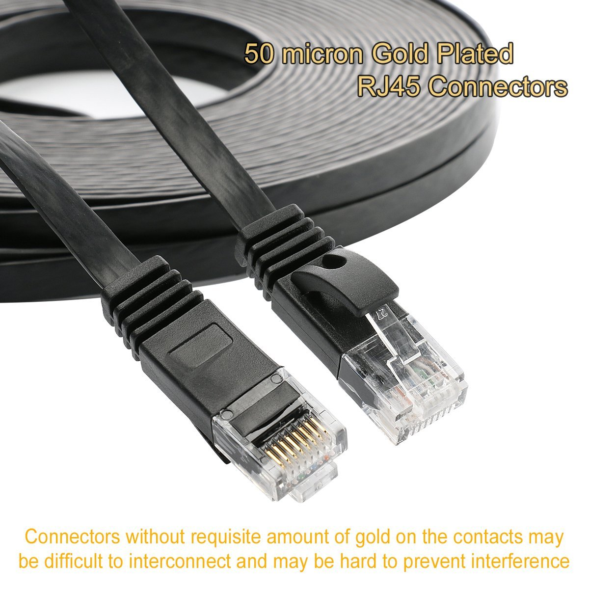 Jadaol Cat 6 Ethernet Cable 35 Ft Black With Clips Network Cables Cat5e White Flat Patch 32 Awg Foot Internet Computer Lan Cat6