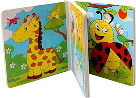 CrazyCrafts Wooden Cute Animal 3D Wooden Jigsaw Puzzle Book Classic Children Early Educational Game Toy for Kids 2 Years (Random Designs)