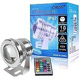 Tooken Lampada Sotto Acqua Faretto a LED Impermeabile 10W RGB a 16 colori DC12V + Telecomando