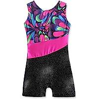 Leotards for Girls Gymnastics with Shorts Sparkle Butterfly Flowers Pattern Sleeveless Biketards Hotpink Black