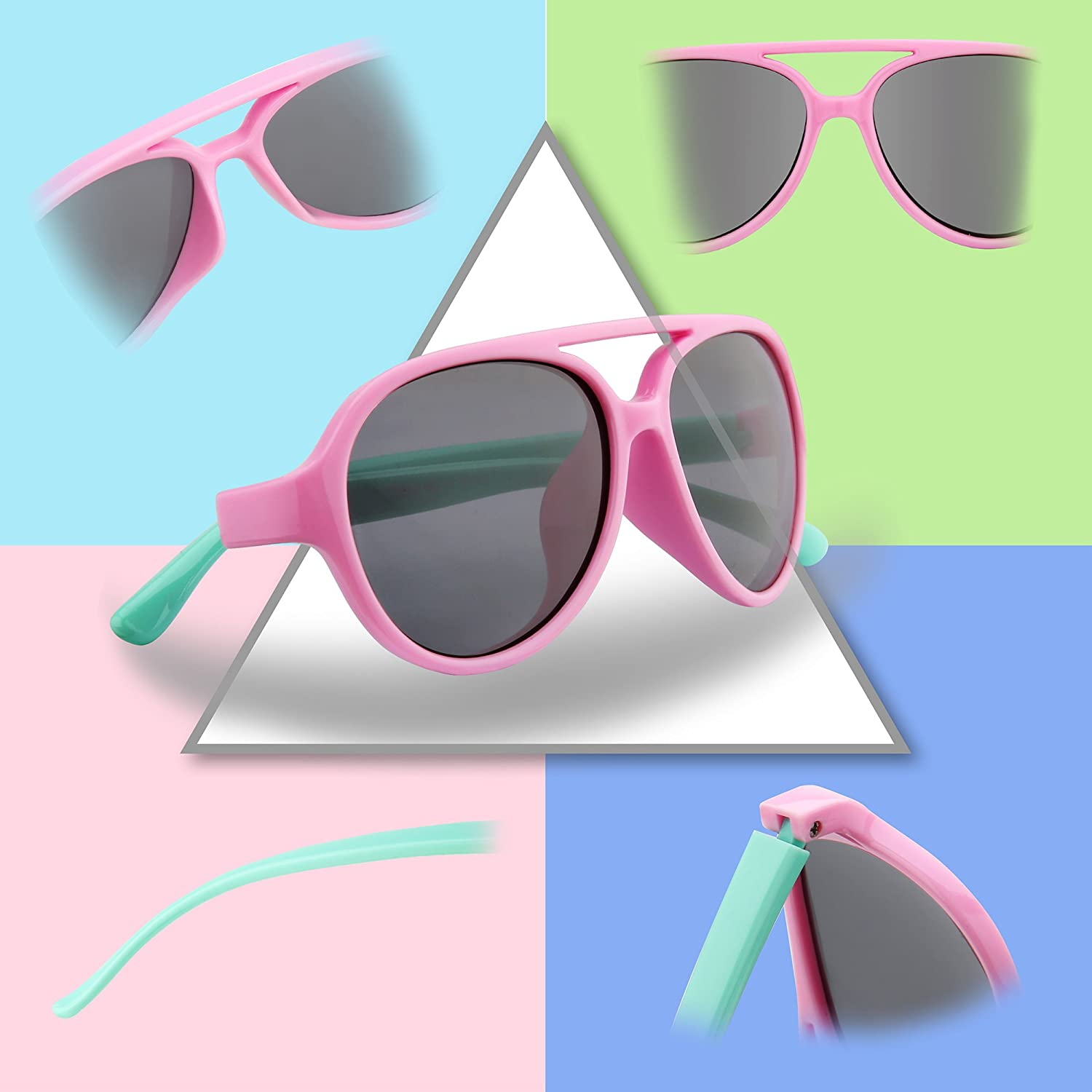 3f285ee580d RIVBOS Rubber Kids Polarized Sunglasses With Strap Glasses Shades for Boys  Girls Baby and Children Age