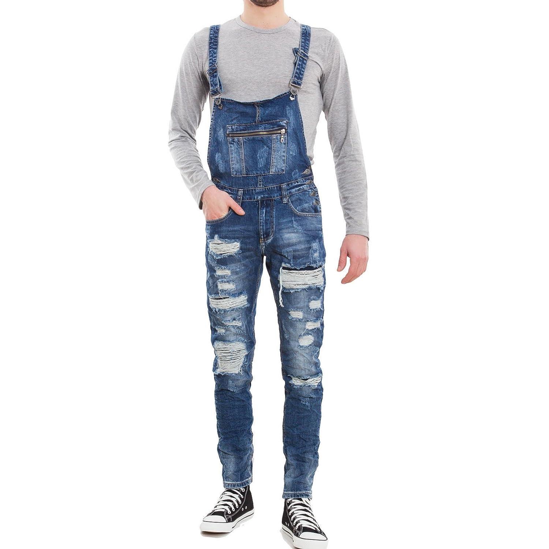 Toocool - Salopette uomo jeans overall tuta intera denim strappi casual slim cotone M8817