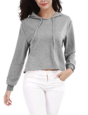 the cheapest lowest discount thoughts on FISOUL Sweat Femme Fille Uni Décontracté Manche Longue avec Capuche  Extensible Poches Devant Tops